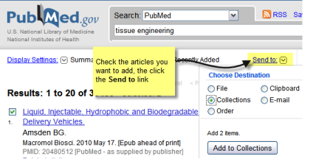 Saving a collection in PubMed
